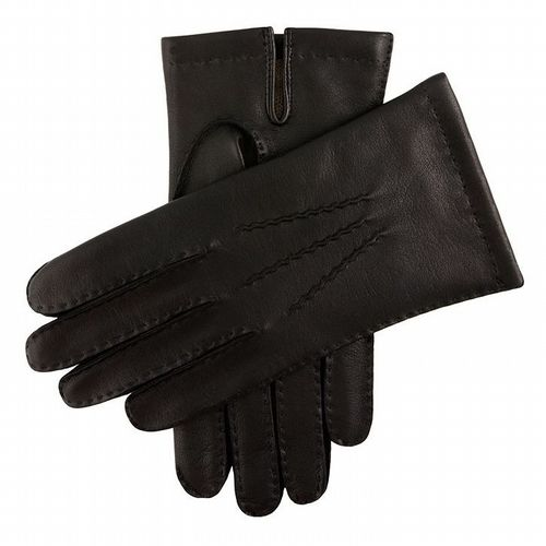 Dents - Men's Leather Gloves with Cashmere Lining - Black